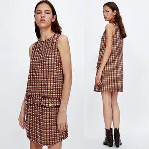 ZARA Metallic Thread Tweed Sleeveless Dress